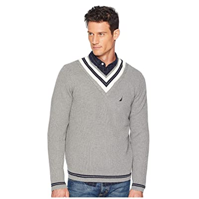 Nautica 9GG Cable Tipped V-Neck Sweater (Morgans Grey Heather) Men