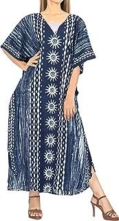 LA LEELA Donne Rayon Kaftan Tunica Stampato Kimono Libero Formato Lungo Maxi Partito Caftano Vestito per Loungewear Vacanze Pigiama Spiaggia di Tutti i Giorni Coprire i Vestiti I