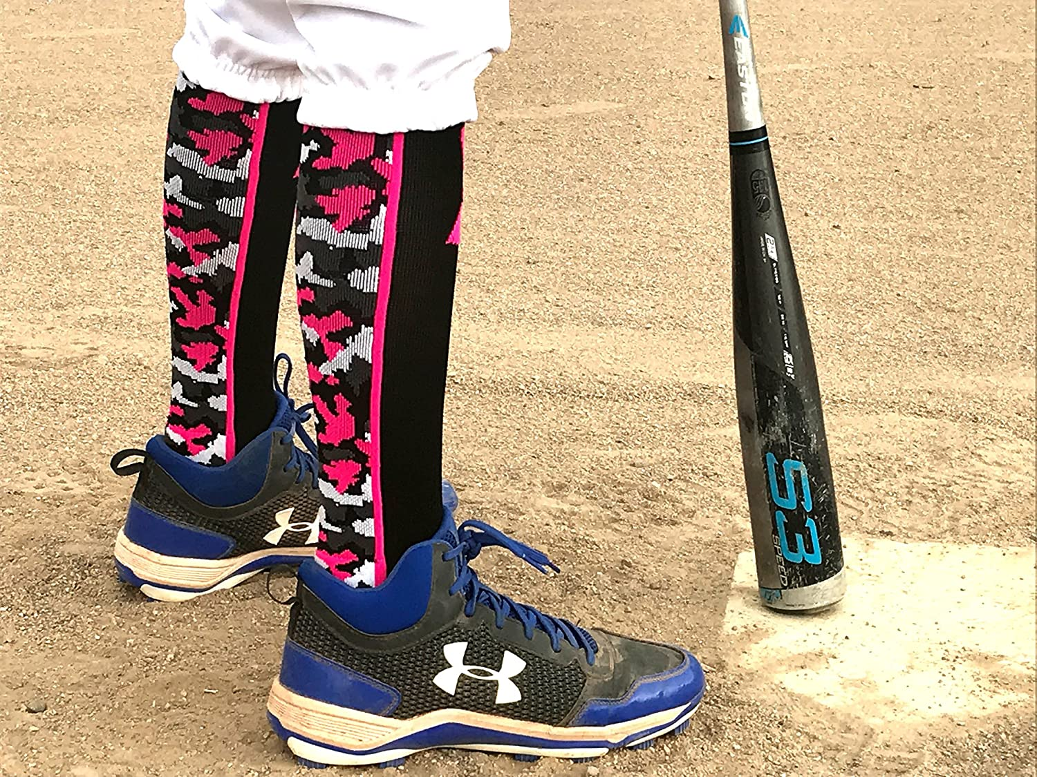 MadSportsStuff Pink Ribbon Breast Cancer Awareness Camo Over The Calf Socks (Multiple Colors)
