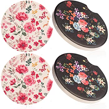 Car Drinks Coasters Set of 2 Pack Sunflowers Absorbent Ceramic Stone Black Ground Coaster with A Finger Notch for Easy Removal from Auto Cupholder
