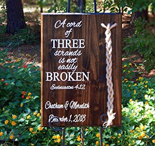 Wood Sign Custom Wedding Gift Personalized Cord Of Three Strands Jute Cords 17 W X 24 T