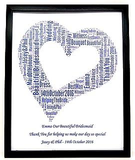La nuova damigella d'onore personalizzata/Maid Of Honor Heart Word Art Grazie regalo, design (A) STAMPA SOLO adatta a qual...