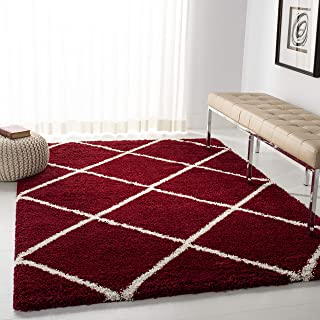 Safavieh Hudson Shag Collection SGH281R Red and Ivory Moroccan Diamond Trellis Area Rug (6' x 9')