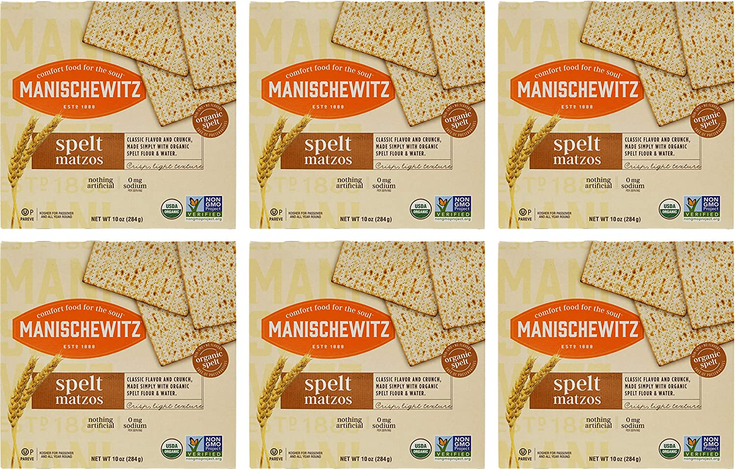 Tampa Mall Manischewitz Organic Spelt Matzo Crackers KFP 6. Oz. Of Selling and selling 10 Pack