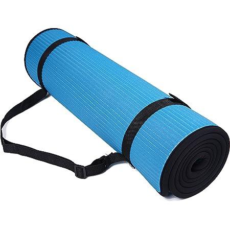 BalanceFrom GoFit - Esterilla de yoga para pilates (10 mm, extra gruesa, alta densidad, antideslizante, con correa de transporte)