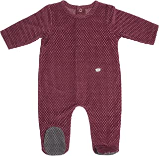 Baby Boy Romper, Maroon Velour Onesie with Feet, Baby Footie
