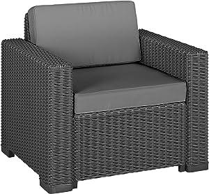 Allibert 212351sedia Lounge California Chair, in plastica effetto rattan, colore: grafite, Set da 2pezzi