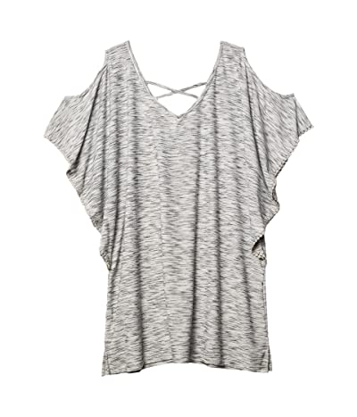 DOTTI Plus Size Ocean Tide Cold-Shoulder Tunic Cover-Up (Grey) Women