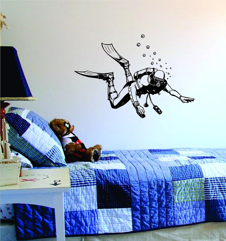 Scuba Diver Design Decal Sticker Wall Vinyl Art Girl Boy Teen Baby Ocean Beach