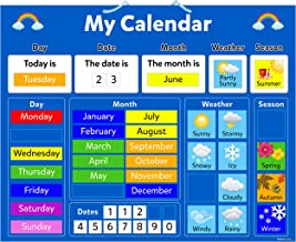 My Calendar Children's educational magnetic board with Hanging Loop, 42x35cm - Educational Board About Weather Seasons Day...