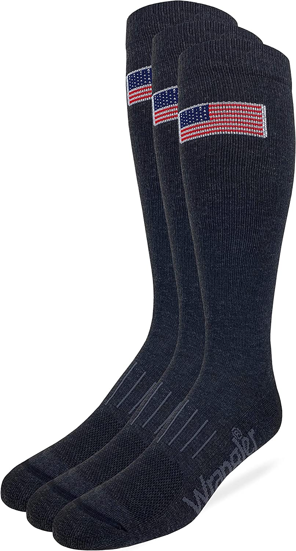 Wrangler Mens American Flag Everyday Western Tall Boot Socks 3 Pair Pack