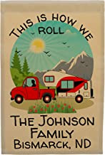 This is How We Roll Happy Campers Personalized Truck and 5th Wheel Campsite Flag, Customize Your Way (Red)