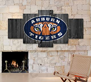 5 Piece American Football College University Teams Art Decor Wall Poster (5 Piece Medium, Auburn Tigers)