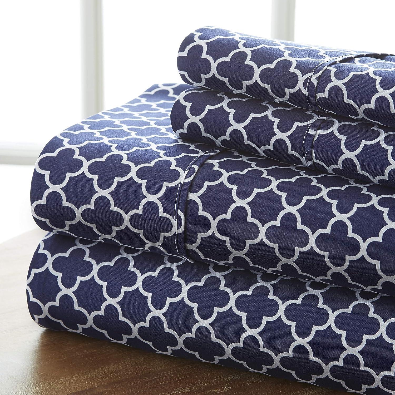 Linen Market 3 Max 85% OFF Super beauty product restock quality top! Piece Sheet Twin Quatrefoil Patterned Set Navy
