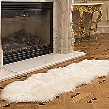 Genteele Luxurious Faux Fur Sheepskin Rug - Super Soft Plush White Faux Australian Fur Elegant Area Rug, 2 Feet X 6 Feet, ...