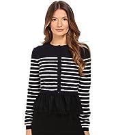 RED VALENTINO - Striped Peplum Sweater