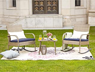 LOKATSE HOME Outdoor Furniture Sets Wicker Rattan 3 Piece Conversation Set with 2 Patio Rocking Chairs and 1 Coffe Table(Blue Cushion+White Stripe Pillow)