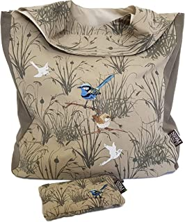 The Linen Press Designer Canvas Shopping Tote Bag Gift Set with Matching Purse – Australian Certified Organic Cotton – Blue Wren Design with Gorgeous Embroidery
