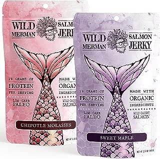 Wild Merman Salmon Jerky - Paleo - No Cane Sugar - 100% Wild Caught - Organic - Gluten Free (Variety Pack, 2 Pack)