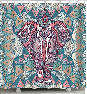 Astory 3D Shower Curtain with Digital Printing, Polyester Waterproof Shower Curtain Heavy Duty Washable with Hooks for Bathroom Decorations Abstract Art Elephant,180x180cm (70.9x70.9inch)
