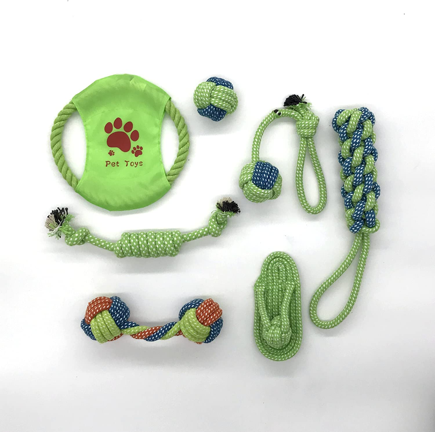Mew Dog Toy Rope Play Set,Washable Cotton Tug Chews with Tennis Ball & Braided Frisbee for Small to Large Dogs (Set of 7)