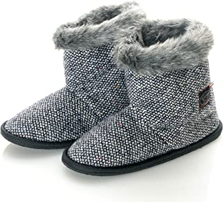 Womens Virgin Wool Donegal Tweed Faux Mink Fur Home Bootie Slippers