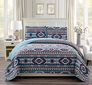 Rustic Western Southwestern Native American Quilt Set in Beige Taupe Brown Turquoise and Navy Blue Colors - Bedspread Set San Antonio (Full/Queen)