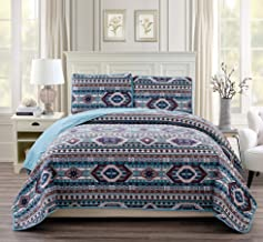 Rustic Western Southwestern Native American Quilt Set in Beige Taupe Brown Turquoise and Navy Blue Colors - Bedspread Set San Antonio (King/Cal-King)