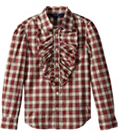 Polo Ralph Lauren Kids - Plaid Ruffle-Front Shirt (Big Kids)