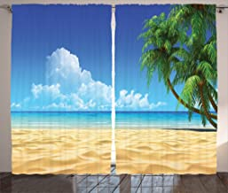 Ambesonne Ocean Curtains, Palm Tree Leaves in The Tropical Sand Beach Sea Landscape Graphic Print, Living Room Bedroom Window Drapes 2 Panel Set, 108