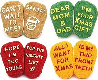 Christmas Socks for Baby Boys Girls | Cute Xmas Gift Holiday Socks 4 Pair, 3-12 Month