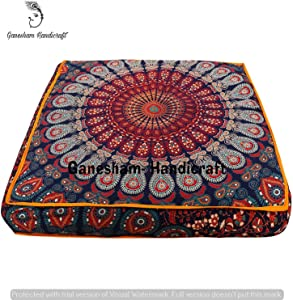 GANESHAM Indian Seating Dog Bed Boho Floor Pillow Bohemian Tapestry Handmade Pouf Ottoman, Mandala Cotton Cushion Cover Throw pet beds Children Bedding Pouf cat Bed Boho Decor (Orange)