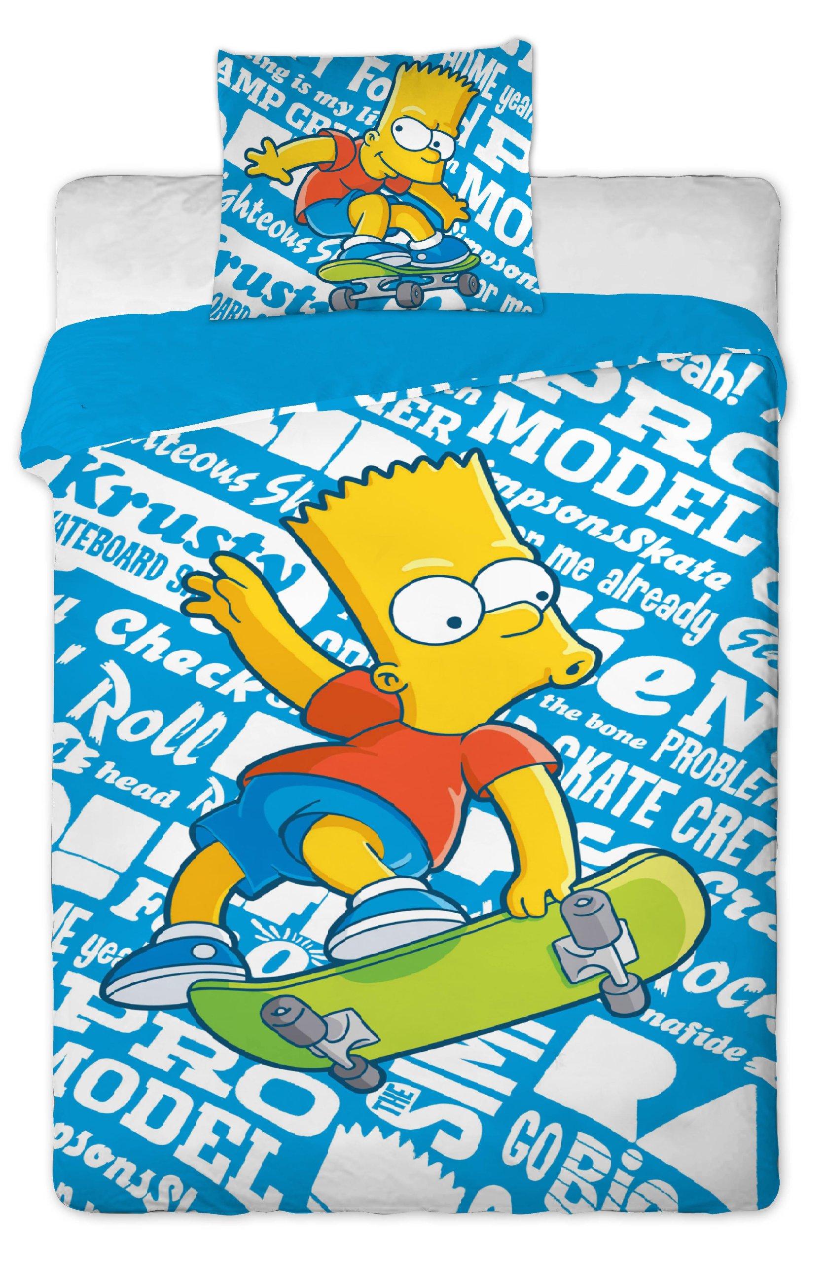 Simpson - Juego de Cama Infantil (100% algodón, Funda nórdica: 140 x 200 cm, Funda de Almohada: 70 x 90 cm), diseño de Bart patinando: Amazon.es: Hogar