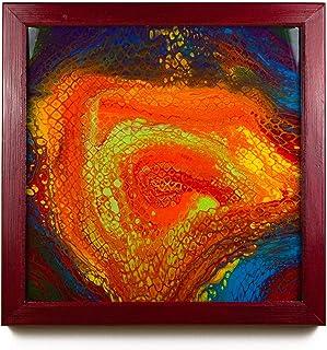 "Cuadro Moderno | resina epoxi | con marco de madera | Nombre: ""roter Strudel"" | fluid art | 62 cm x 62 cm"