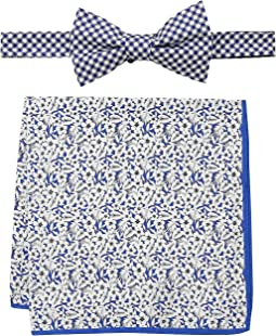 Gingham and Tropical Pre-Tied Bow Tie and Pocket Square Set