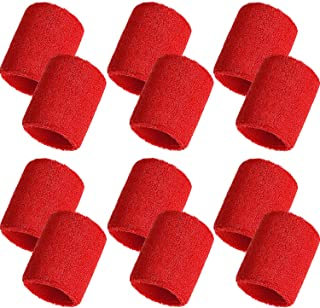 Bememo 12 Pack Sweatbands Sports Wristband Cotton Sweat Band for Men and Women, Good for Tennis, Basketball, Running, Gym, Working Out (Red)