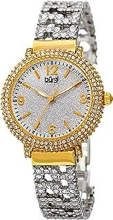 Burgi Swarovski Crystal Women's Fashion Watch - Crystal Filled Sparkling On Silver Powder Finished Dial on Stainless Steal Bracelet Watch - BUR140