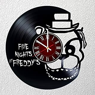 DECOR FOR EVERYBODY Five Nights at Freddy's 12 inches / 30 cm Vinyl Record Wall Clock | home room wall art decor ideas for boys, girls, kids, teens, men GAME FIVE NIGHTS