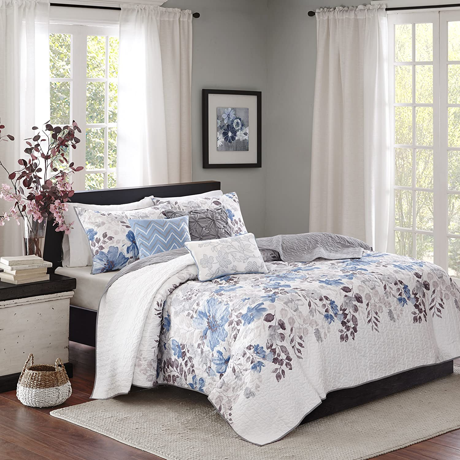 Madison Park Luna King Cal King Size Quilt Bedding Set - bluee, Plum, Floral, Leaf – 6 Piece Bedding Quilt Coverlets – Ultra Soft Microfiber with Cotton Filling Bed Quilts Quilted Coverlet