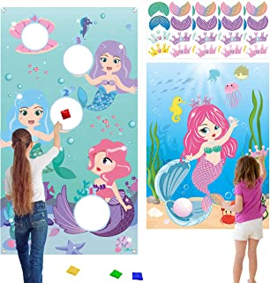 WATINC Mermaid Toss Sticker Game with 4 Bean Bags and Sticker Game, Pin The Tail on The Mermaid Party Game,Mermaid Toss Ga...