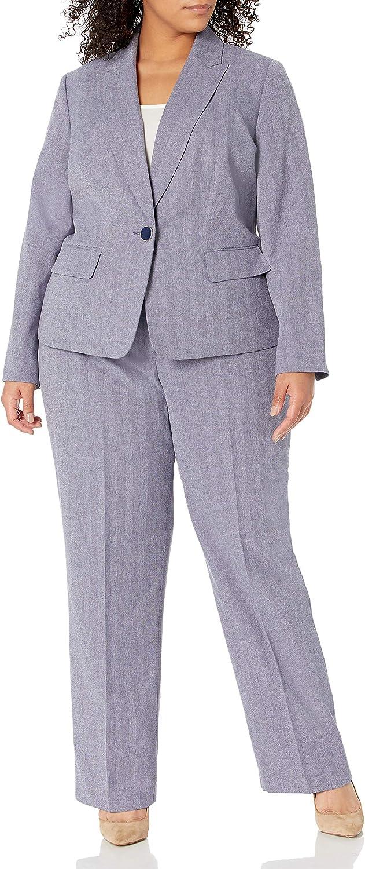 Le Suit Women's Plus Size Cross Dye Shadow Stripe 1 Button Peak Lapel Pant Suit