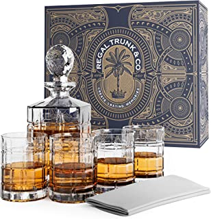 Elegant 5 Piece Whiskey Decanter and Glass Set in a Spectacular Gift Box - Lead Free Crystal Glass Decanter with 4 Whiskey Glasses | Bourbon Scotch Liquor Dispenser - Bonus Glass Polishing Cloth