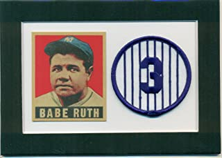 Babe Ruth 1948 Leaf Reprint and Embroidered Patch Matted - Ready for Frame