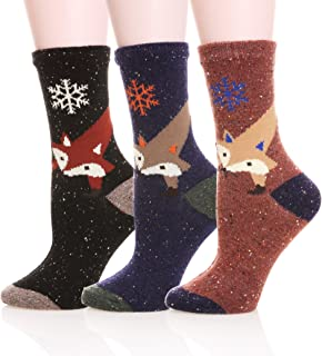 Womens Girls Wool Novelty Socks Cabin Cute Animal Cartoon Funny Casual Soft Cotton Socks 3 Pack