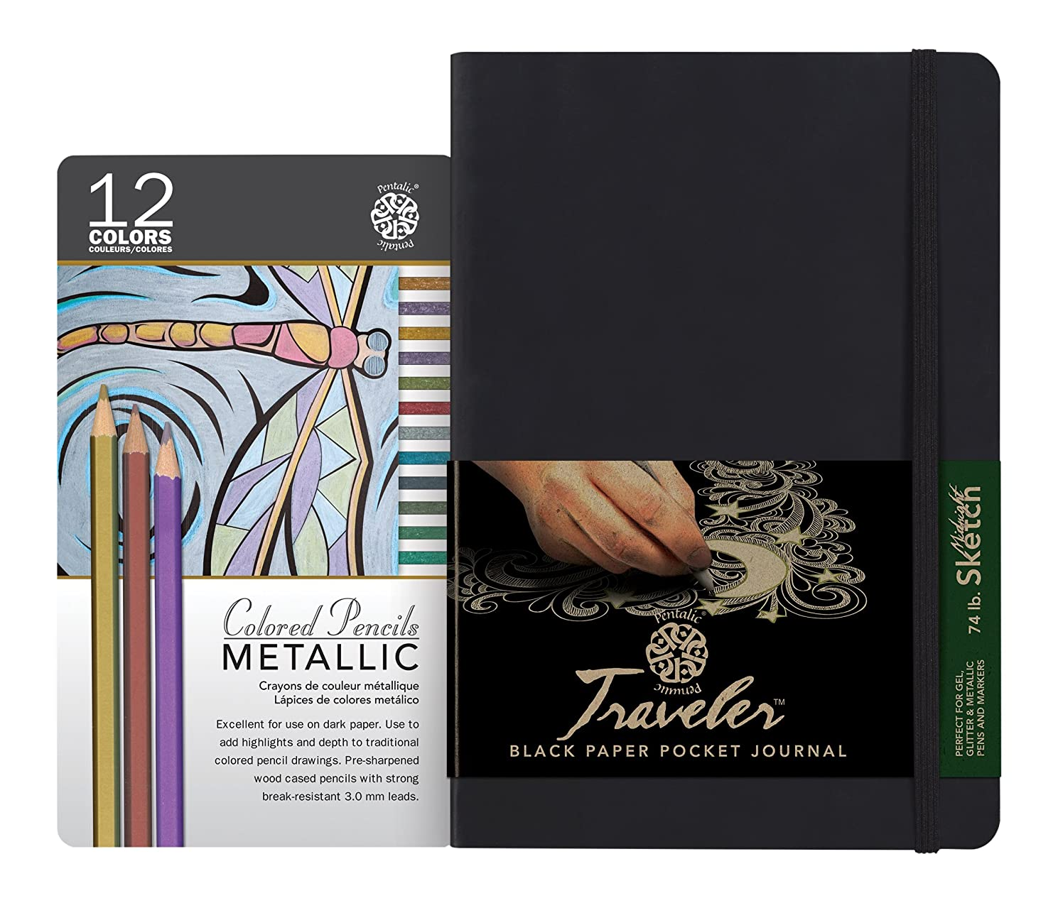 Pentalic Art Pentalic Value Pack, 8-inch-by-6-inch Black Paper Travelers Sketch, 12 Color Metallic Pencil Tin Set, 6-inch x 8-inch Journal