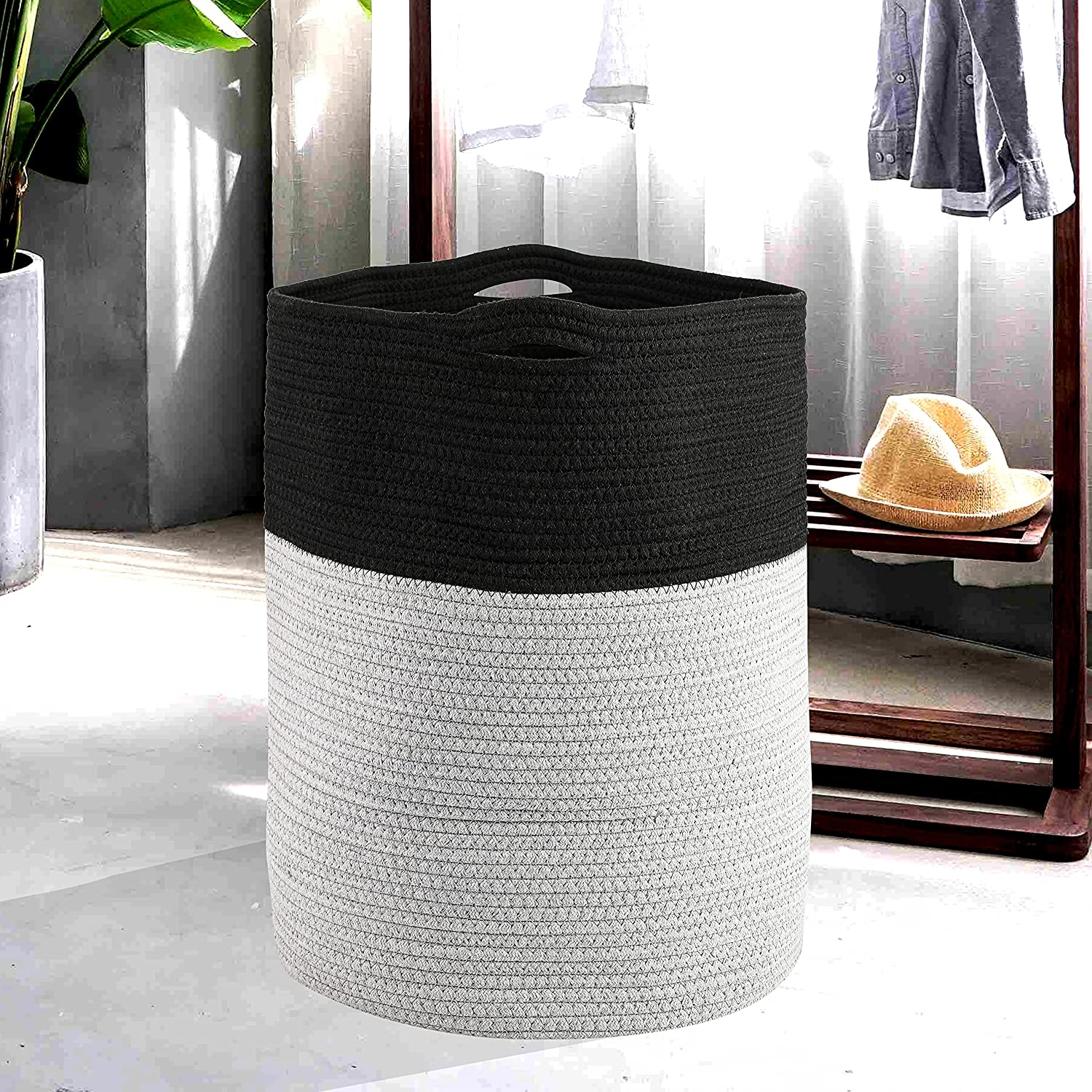62L Laundry Hamper Large Capacity Cotton Max 74% OFF lowest price Bask Woven Rope