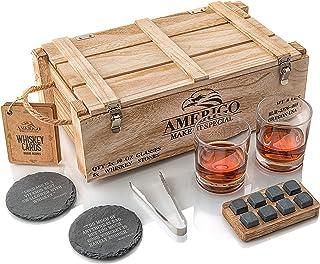 Idee Cadeau Homme Originale - Coffret Cadeau Pierres à Whisky avec Verres à Whisky - Cadeau Papa Anniversaire - Glacons Re...