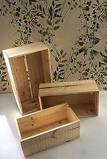 conjunto de 3 cajas de madera para decoración o almacenaje de 43x27x15-39x23x15-35x19x15 cm
