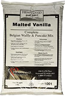 Heartland Food Products Belgian Waffle and Pancake Mix, Malted Vanilla, 5 Pound
