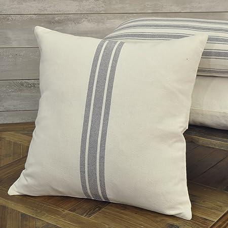 Sofa Cushion Cover Farmhouse Pillow Antique Pillow Vintage Pillow Hand-Loomed two green stripes grainsack pillow cover 22x22